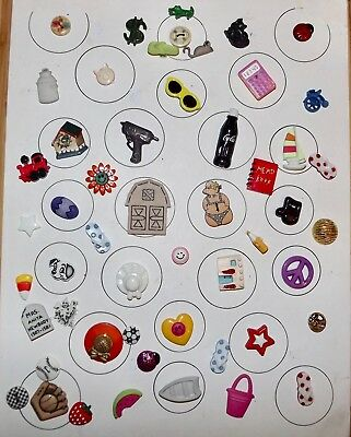 Fabulous Card of Over 50 Realistic & Goofie Buttons
