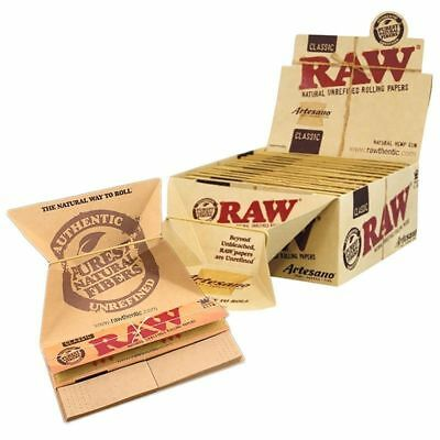 RAW Classic Artesano King Size Slim Rolling Paper - 12 PACKS - Tips Tray Natural