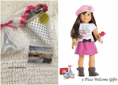 American Girl GRACE WELCOME GIFTS~3 Piece Set~ Bouquet~Cookie Bag~Postcards~NEW
