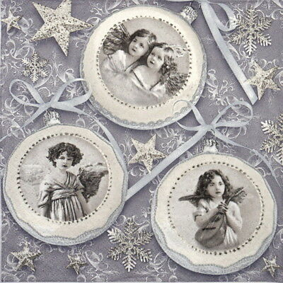 4x Paper Napkins for Decoupage Decopatch Craft Old vintage Xmas baubles