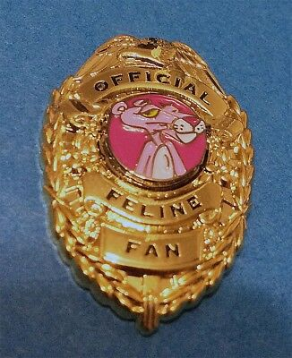 """Pink Panther """"official Feline Fan"""" Badge Style Lapel Pin"""