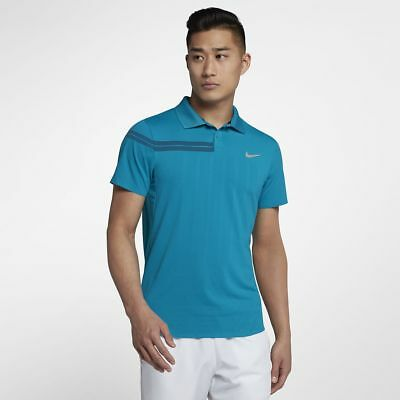 Nike NikeCourt Advantage Roger Federer RF Zonal Cooling Polo Shirt Blue New XXL