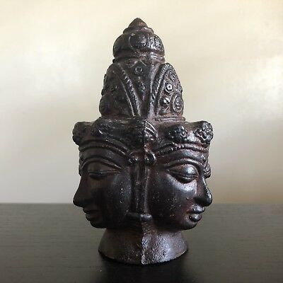 Antique Chinese Thai Bronze Buddha Head Three Faces Guan Yin Temple Art NICE NR