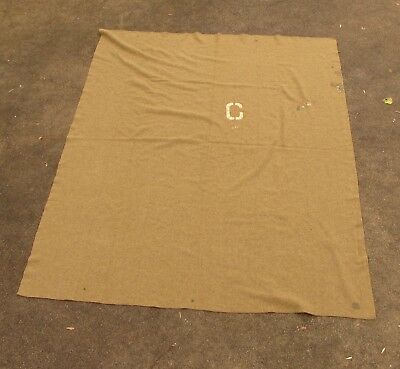 WWI US Army Blanket, October 1917 Spec, Company C Stenciled, Great Example