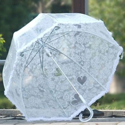 09F8 New Transparent Clear Bubble Flower Lace Rain Umbrella Parasol Photo Party