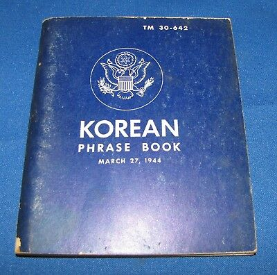 WWII Army Korean Language Guide - 1944 - War Department Great Reference