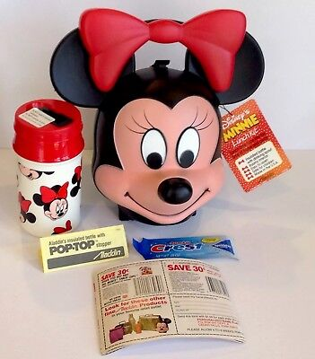 VINTAGE UNUSED DISNEY MINNIE MOUSE HEAD LUNCHBOX w/Thermos, Factory Tag & Papers