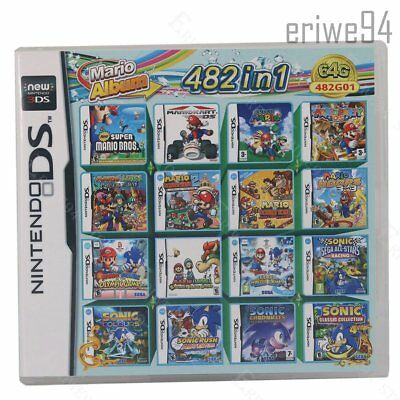 Mario Multicart fit Nintendo 482 in 1 Game Cartridge DS Lite NDSi 3DS 2DS XL NDS