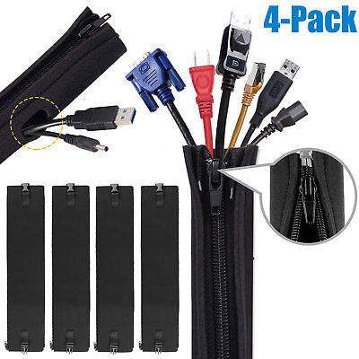 19.5 inch Flexible Cable Cable Management Sleeve Bestfy Cord Organizer System