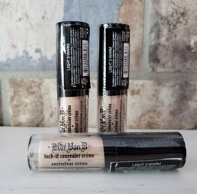 3X Kat Von D Lock It Concealer Creme Light 3 Warm - 0.065oz Sample Sealed
