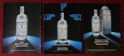 Lot of 3 Different TANQUERAY Sterling Vodka Magazine Print Ads Clippings ~