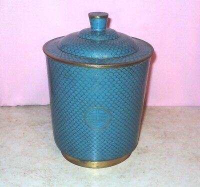 Old CHINESE CLOISONNE Humidor Turquoise Blue Fish Scales w/ Match Holder China