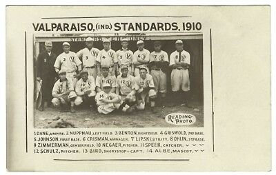 1910 Valparaiso Standards Indiana Baseball Team - At Dugout & Named with Manager