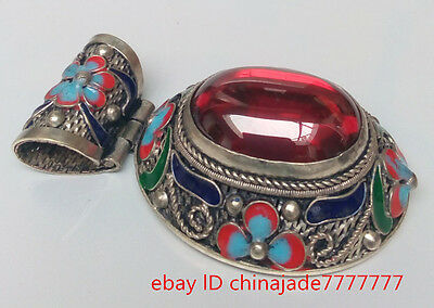 China's old Tibetan style red zircon inlay cloisonne pendant worth collecting!