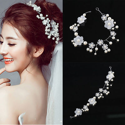 White Floral Flowers Wedding Bridal hair Accessories Clip Tiara Headband Piece