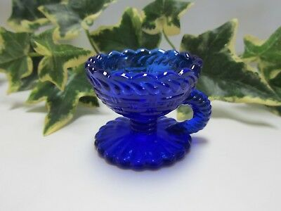 ~ Atterbury Mold ~ Guernsey Glass Co. ~ Cobalt Blue Glass ~ Open Salt Cellar Dip