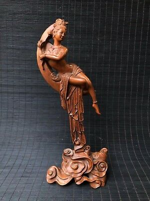 Chinese Antique Boxwood Hand carved moon goddess Home Decoration  z