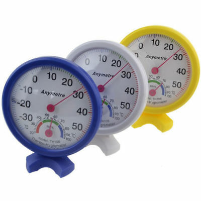 Round Clock-shaped Indoor Outdoor Hygrometer Humidity Temperature Thermometer