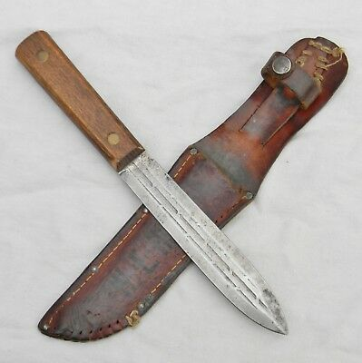 WW2 era US Fighting Knife Pig Sticker dagger made from duct knife; signed sheath
