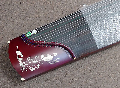 """Guzheng Zither Harp 21-String Koto 49"""" Travel Size Instrument Red Fishes"""
