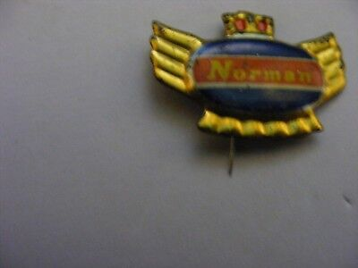 NORMAN  motorcycle,,,  very old lapel,hat pin badge...tinplate/tinlitho.(A).