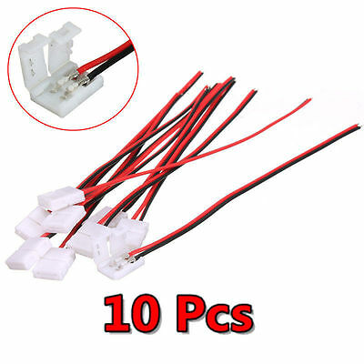 10x Useful PCB Cable 2 Pin LED Strip Connector 3528/5050 Single Color Adapter aa