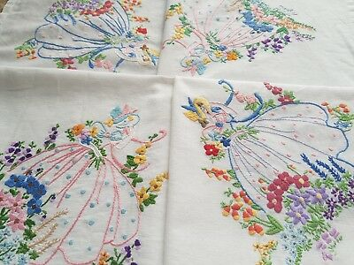 SUPERB Vintage Hand Embroidered Linen Tablecloth with Crinoline Ladies