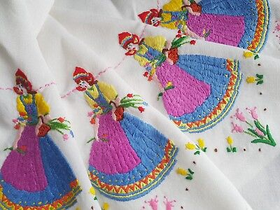 LOVELY Vintage Hand Embroidered Linen Tablecloth with Crinoline Ladies
