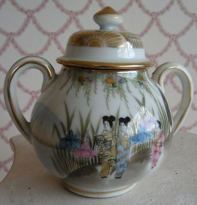 Hand Painted Porcelain Sugar Bowl With Lid  & Handles Japanese Chinese