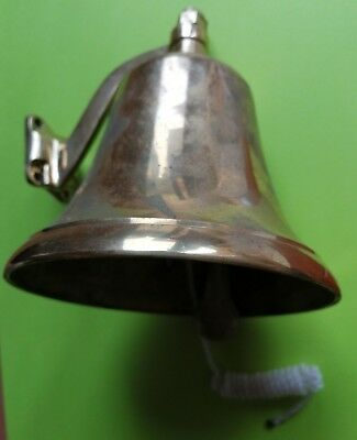Antique Finish Hanging Door Bell Brass Ship Church Bell Wall Mounted Bracket