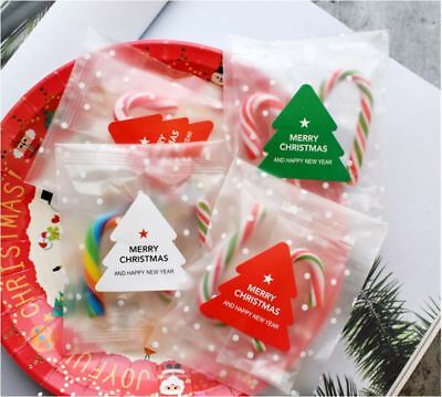 20X Merry Christmas Xmas Tree Sticker / Self Adhesive Label / Cookies Bag Sealer