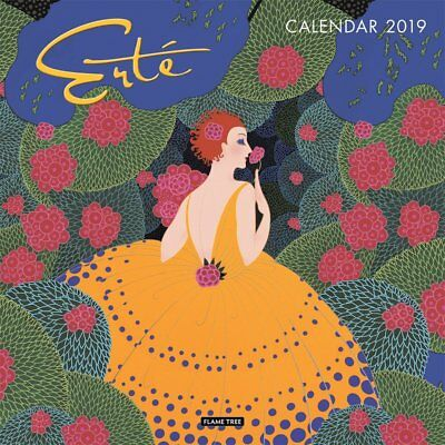 2019 Erte Square Wall Calendar by Flame Tree, includes Postage