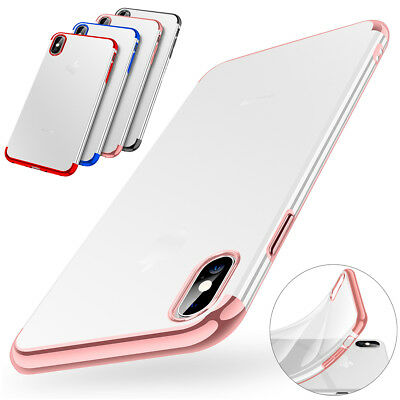 iPhone 8 7 Plus XR XS Max X Slim Plating Bumper TPU Shockproof Clear Case Cover