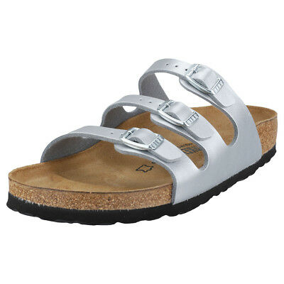 0a10918a905d Birkenstock Florida Birko-flor Narrow Fit Womens Silver Synthetic Sandals