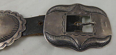 Navajo Guild Hand Stamped & Constructed Concha Belt early-mid-Century Sterling