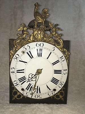 18th Century Comtoise Clock with Cockerel Pediment and Beautiful Pendulum.
