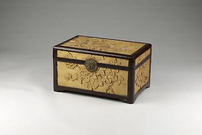 Vintage 20thC Chinese Carved & Lacquered Wood Red Padded Jewellery Box.