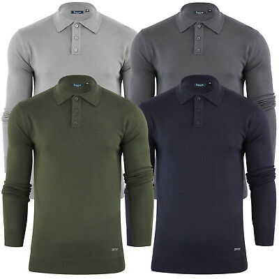 Mens Knitted Polo Shirts Stallion Cotton Blend Jumper Casual Sweater Tops New