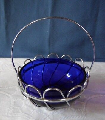 Blue Glass Sugar Bowl In Chrome Basket