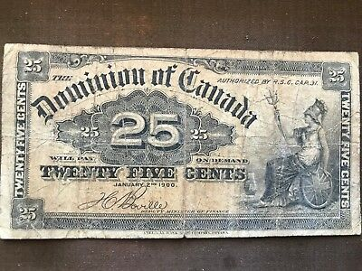 Canada 1900 25 Cent old Banknote circulated Scarce. 297a