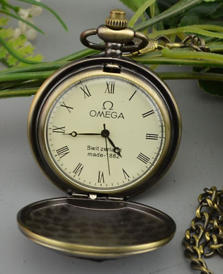 Old OMEGA pocket watch mechanical double shell watch long chain Pocket Watch z