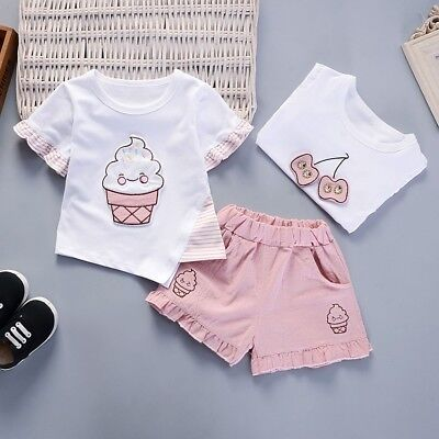 Cute Toddler Baby Girl Short Sleeve Tops+Shorts Short Pants Trousers Outfits Set