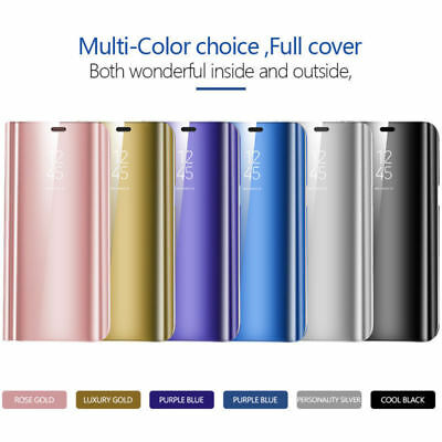 For Samsung Galaxy S9 Plus Smart Leather Case Clear View Mirror Flip Stand Cover