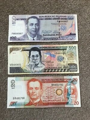 PHILIPPINES x 3 Banknotes - 20, 100 and 500 Piso  2003-2010