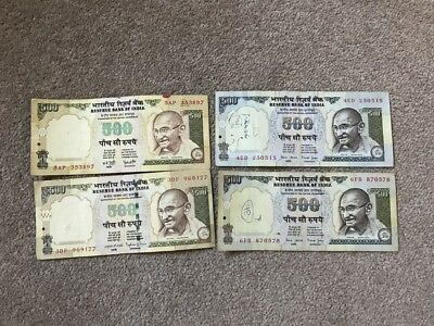 INDIA 500 Rupees Banknote x 4
