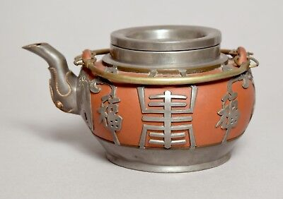 A Good Antique Chinese Yixing Pewter Cased Teapot Signed
