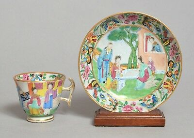 An Unusual Antique Chinese Famille Rose Porcelain Tea Cup Saucer