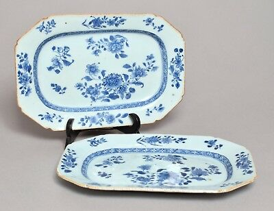A Good Pair Antique Qianlong Period Chinese Porcelain Small Plates Platters