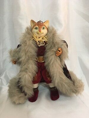 "Vintage Christmas Victorian Cat Collectible  10"" Figurine Doll Statue"