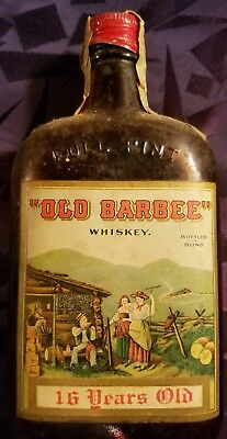 """EARLY 1900s OLD BARBEE WHISKEY FULL  PINT """"MEDICINAL"""" BOTTLE W/ ORIGINAL BOX"""